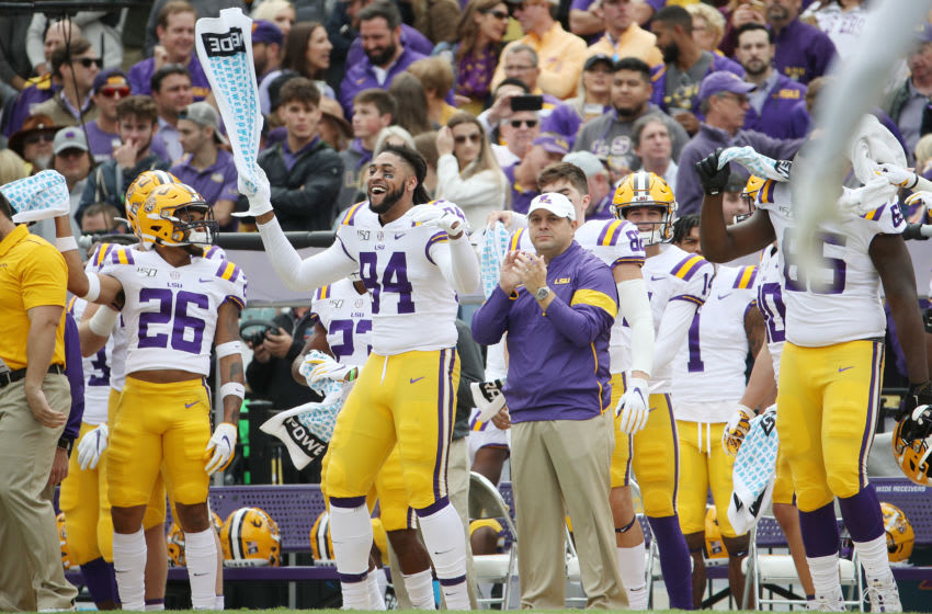BATON ROUGE, LOUISIANA - OCTOBER 26: The LSU Tigers sideline dances prior to kick-off against the Auburn Tigers at Tiger Stadium on October 26, 2019 in Baton Rouge, Louisiana. (Photo by Chris Graythen/Getty Images)
