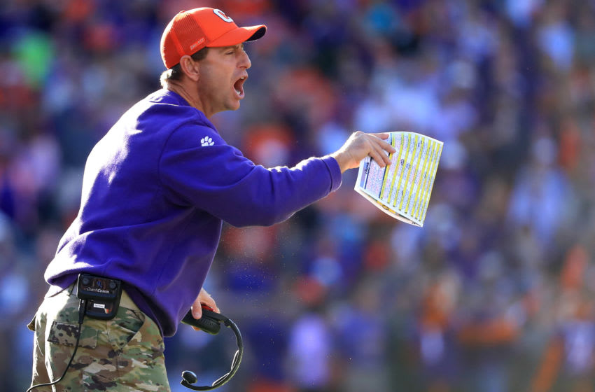 CLEMSON, SOUTH CAROLINA - NOVEMBER 02: Head coach Dabo Swinney of the Clemson Tigers reacts against the Wofford Terriers during their game at Memorial Stadium on November 02, 2019 in Clemson, South Carolina. (Photo by Streeter Lecka/Getty Images)