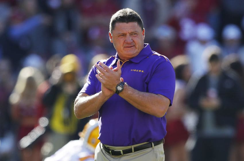 TUSCALOOSA, ALABAMA - NOVEMBER 09: Head coach Ed Orgeron of the LSU Tigers reacts before the game against the Alabama Crimson Tide at Bryant-Denny Stadium on November 09, 2019 in Tuscaloosa, Alabama. (Photo by Kevin C. Cox/Getty Images)
