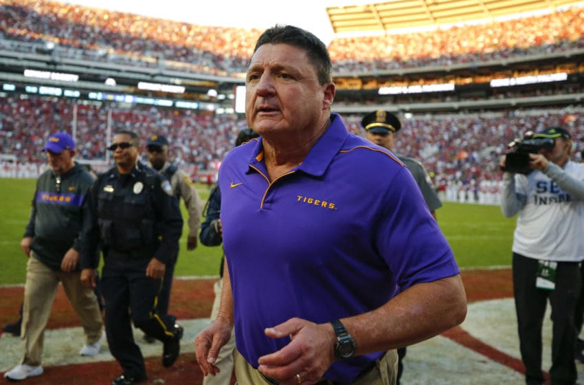 LSU football head coach Ed Orgeron (Photo by Todd Kirkland/Getty Images)
