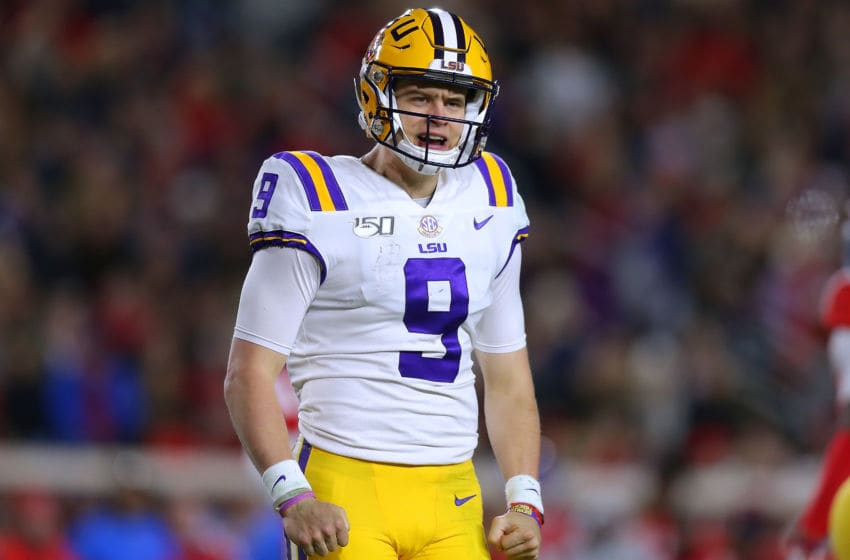 OXFORD, MISSISSIPPI - NOVEMBER 16: Joe Burrow #9 of the LSU Tigers reacts during the first half of a game against the Mississippi Rebels at Vaught-Hemingway Stadium on November 16, 2019 in Oxford, Mississippi. (Photo by Jonathan Bachman/Getty Images)