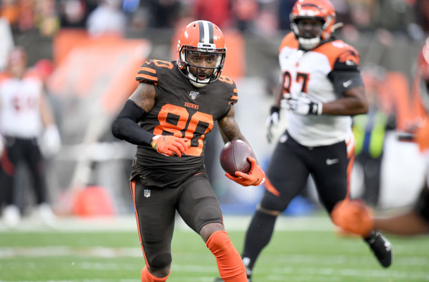 CLEVELAND, OHIO - DECEMBER 08: Wide receiver Jarvis Landry #80 of the Cleveland Browns runs for a gain during the second half against the Cincinnati Bengals at FirstEnergy Stadium on December 08, 2019 in Cleveland, Ohio. The Browns defeated the Bengals 27-19. (Photo by Jason Miller/Getty Images)