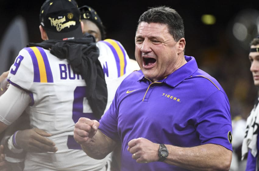 NEW ORLEANS, LA - JANUARY 13: Head coach Ed Orgeron of the LSU Tigers celebrates after defeating the Clemson Tigers during the College Football Playoff National Championship held at the Mercedes-Benz Superdome on January 13, 2020 in New Orleans, Louisiana. (Photo by Justin Tafoya/Getty Images)