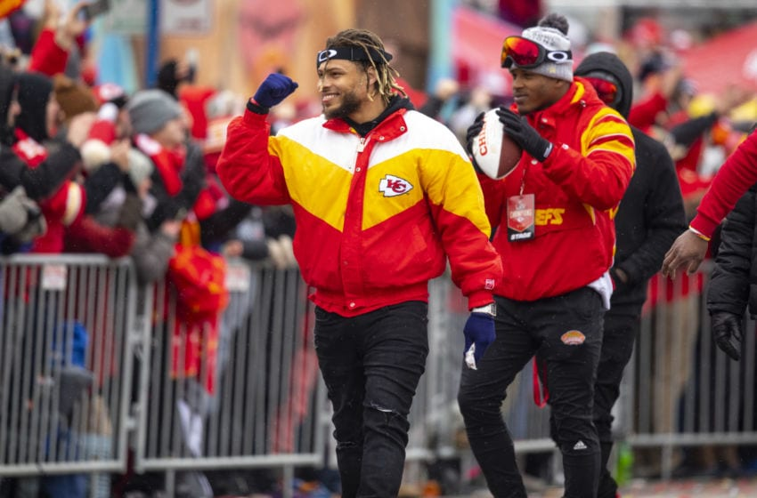 KANSAS CITY, MO - FEBRUARY 05: Tyrann Mathieu #32 of the Kansas City Chiefs (in yellow coat) walks the parade route with defensive teammate on February 5, 2020 in Kansas City, Missouri during the citys celebration parade for the Chiefs victory in Super Bowl LIV. (Photo by David Eulitt/Getty Images)