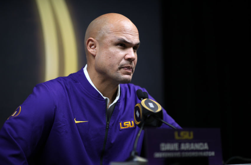 NEW ORLEANS, LOUISIANA - JANUARY 11: Dave Aranda of the LSU Tigers attends media day for the College Football Playoff National Championship on January 11, 2020 in New Orleans, Louisiana. (Photo by Chris Graythen/Getty Images)