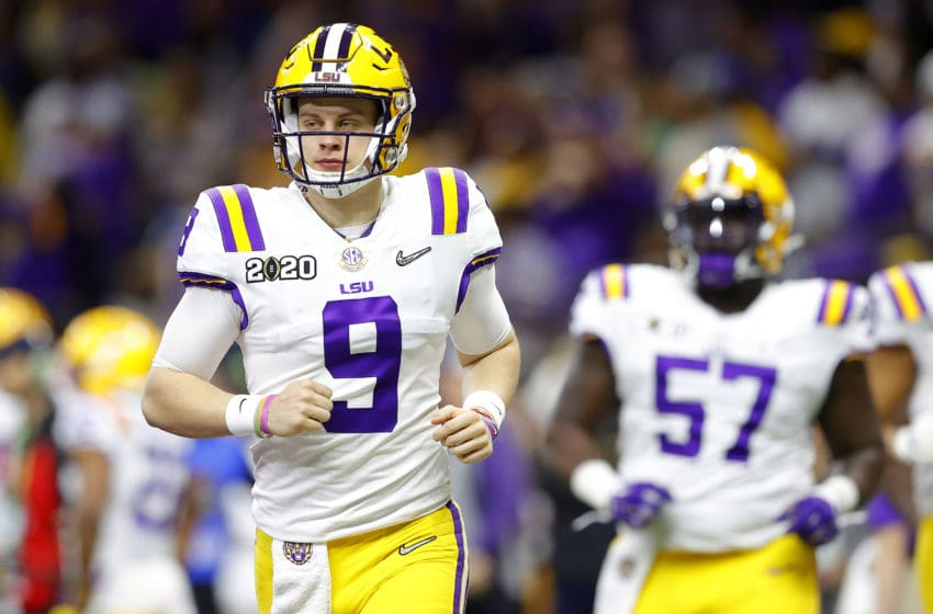 NEW ORLEANS, LOUISIANA - JANUARY 13: Joe Burrow #9 of the LSU Tigers takes the field prior to the College Football Playoff National Championship game against the Clemson Tigers at Mercedes Benz Superdome on January 13, 2020 in New Orleans, Louisiana. (Photo by Kevin C. Cox/Getty Images)