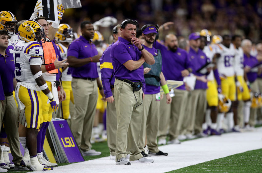 NEW ORLEANS, LOUISIANA - JANUARY 13: Head coach Ed Orgeron of the LSU Tigers watches from the sidelines against the Clemson Tigers in the College Football Playoff National Championship game at Mercedes Benz Superdome on January 13, 2020 in New Orleans, Louisiana. (Photo by Chris Graythen/Getty Images)