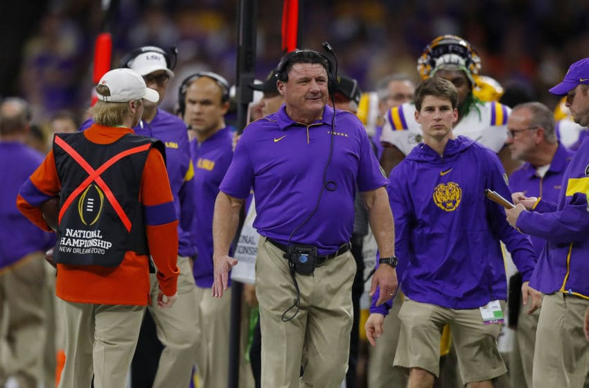 LSU football's coaching staff (Photo by Jonathan Bachman/Getty Images)