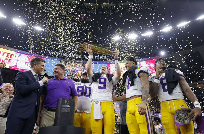 LSU Football celebrating their win against Clemson (Photo by Kevin C. Cox/Getty Images)