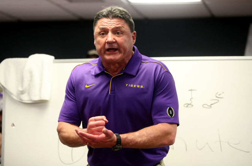 LSU football head coach Ed Oregon (Photo by Chris Graythen/Getty Images)
