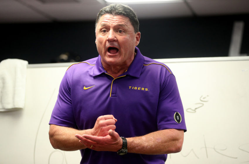 NEW ORLEANS, LOUISIANA - JANUARY 13: Head coach Ed Orgeron of the LSU Tigers talks to his team in the locker room after their 42-25 win over Clemson Tigers in the College Football Playoff National Championship game at Mercedes Benz Superdome on January 13, 2020 in New Orleans, Louisiana. (Photo by Chris Graythen/Getty Images)