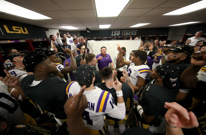 NEW ORLEANS, LOUISIANA - JANUARY 13: Head coach Ed Orgeron of the LSU Tigers celebrates with his team in the locker room after their 42-25 win over Clemson Tigers in the College Football Playoff National Championship game at Mercedes Benz Superdome on January 13, 2020 in New Orleans, Louisiana. (Photo by Chris Graythen/Getty Images)