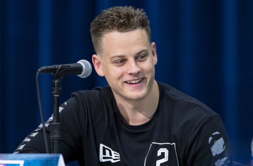 INDIANAPOLIS, IN - FEBRUARY 25: Joe Burrow #QB02 of the LSU Tigers speaks to the media at the Indiana Convention Center on February 25, 2020 in Indianapolis, Indiana. (Photo by Michael Hickey/Getty Images) *** Local Capture *** Joe Burrow