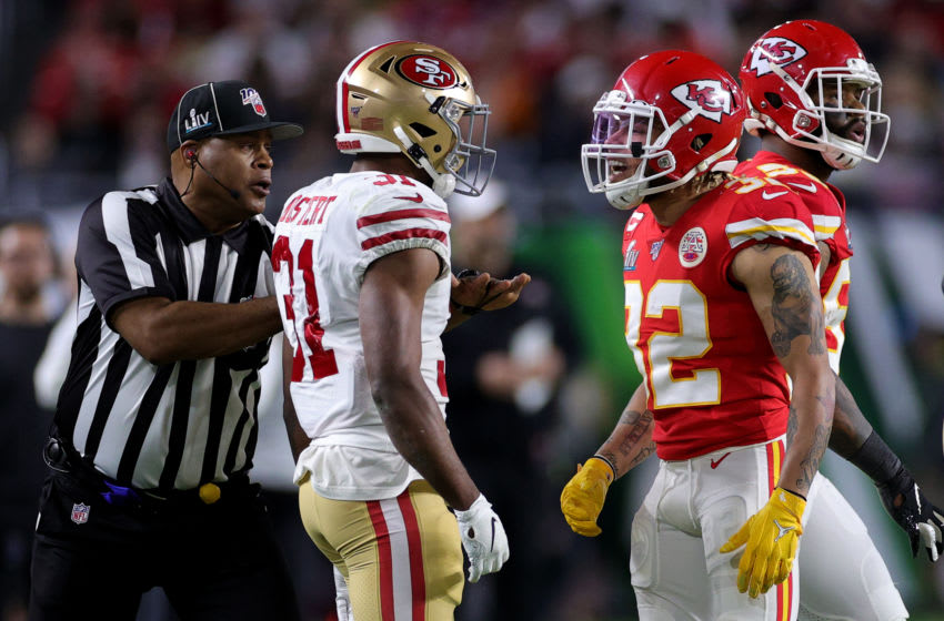 MIAMI, FLORIDA - FEBRUARY 02: Raheem Mostert #31 of the San Francisco 49ers reacts against Tyrann Mathieu #32 of the Kansas City Chiefs during the second quarter in Super Bowl LIV at Hard Rock Stadium on February 02, 2020 in Miami, Florida. (Photo by Maddie Meyer/Getty Images)