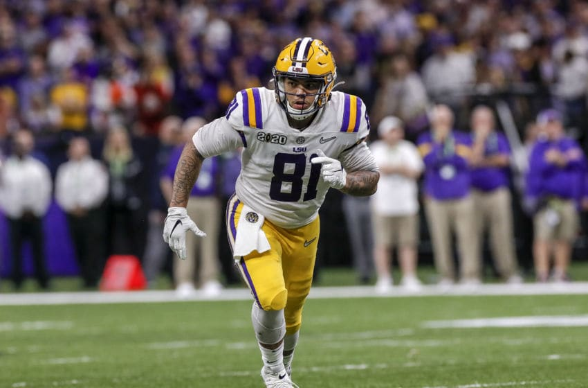 NEW ORLEANS, LA - JANUARY 13: Tight End Thaddeus Moss #81 of the LSU Tigers during the College Football Playoff National Championship game against the Clemson Tigers at the Mercedes-Benz Superdome on January 13, 2020 in New Orleans, Louisiana. LSU defeated Clemson 42 to 25. (Photo by Don Juan Moore/Getty Images)