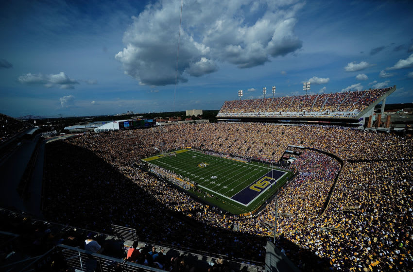 BATON ROUGE, LA - OCTOBER 12: General view of Tiger Stadium during a game between the LSU Tigers and the Florida Gators on October 12, 2013 in Baton Rouge, Louisiana. LSU defeated Florida 17-6. (Photo by Stacy Revere/Getty Images)