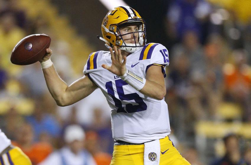 LSU Football quarterback Myles Brennan (Photo by Jonathan Bachman/Getty Images)