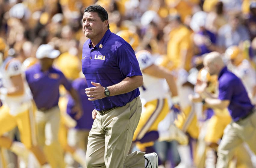 LSU football head coach Ed Orgeron (Photo by Wesley Hitt/Getty Images)