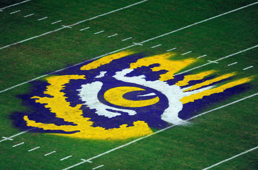 LSU football's logo at Tiger Stadium (Photo by Stacy Revere/Getty Images)