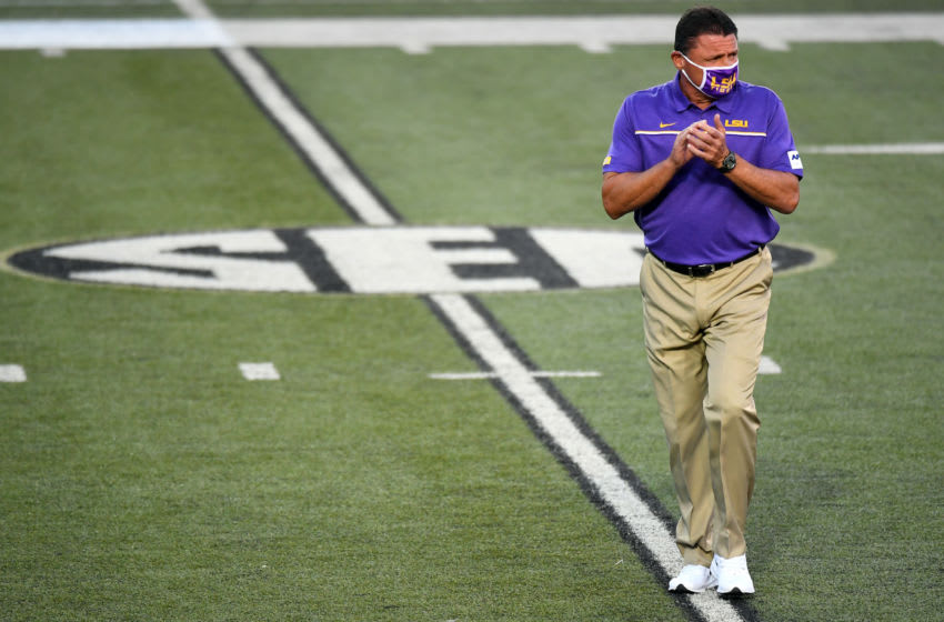LSU football head coach Ed Orgeron -- Mandatory Credit: Christopher Hanewinckel-USA TODAY Sports