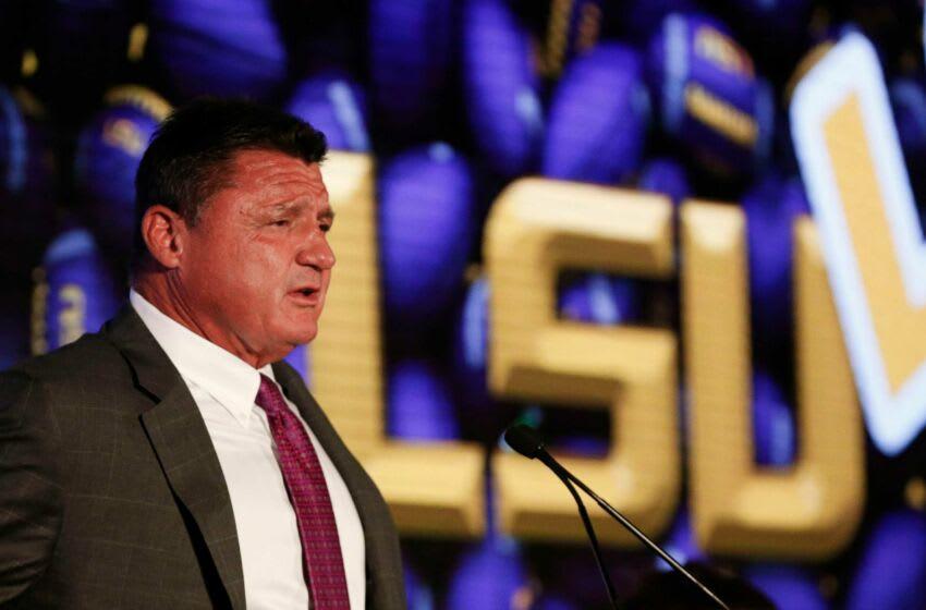 [Staff Photo/Gary Cosby Jr.] Sec Media Days Ed Orgeron