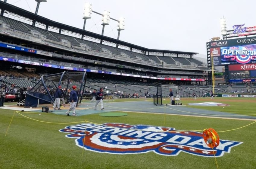 Apr 6, 2015; Detroit, MI, USA; General view of Opening Day before the game between the Detroit Tigers and the Minnesota Twins at Comerica Park. Mandatory Credit: Rick Osentoski-USA TODAY Sports