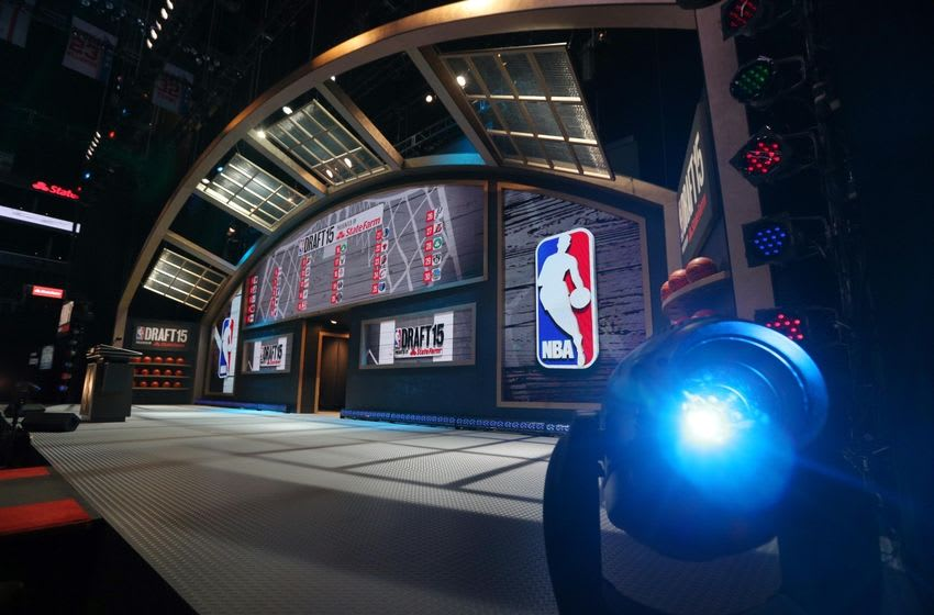 Jun 25, 2015; Brooklyn, NY, USA; General view of the stage before the start of the 2015 NBA Draft at Barclays Center. Mandatory Credit: Brad Penner-USA TODAY Sports