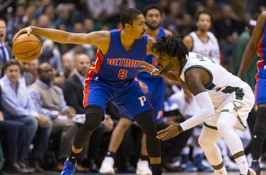 Nov 23, 2015; Milwaukee, WI, USA; Milwaukee Bucks guard O.J. Mayo (3) defends Detroit Pistons guard Spencer Dinwiddie (8) during the third quarter at BMO Harris Bradley Center. Mandatory Credit: Jeff Hanisch-USA TODAY Sports