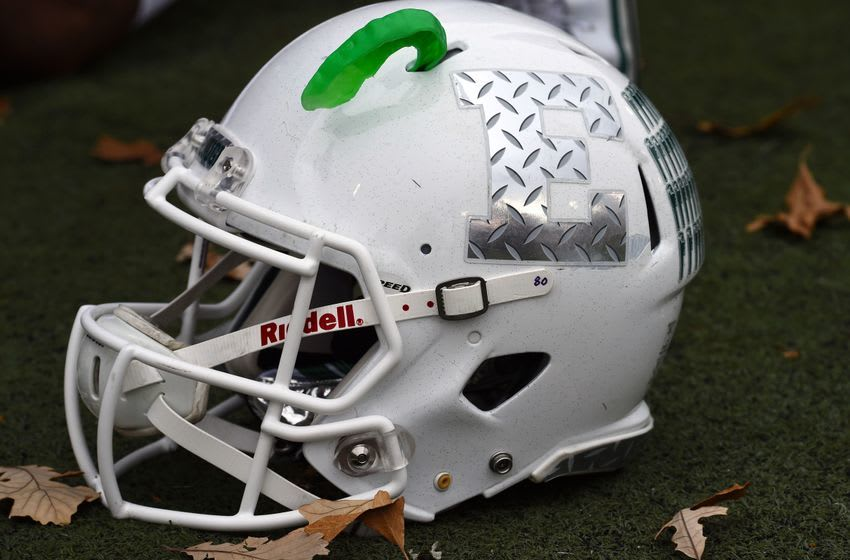 Oct 24, 2015; DeKalb, IL, USA; A detailed view of the Eastern Michigan Eagles hemet before the game against the Northern Illinois Huskies at Huskie Stadium. Mandatory Credit: Mike DiNovo-USA TODAY Sports