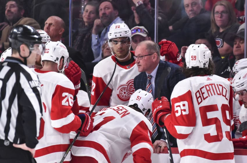 MONTREAL, QC - MARCH 12: Assistant coach for the Detroit Red Wings Dan Bylsma regroups his team in the third period against the Montreal Canadiens during the NHL game at the Bell Centre on March 12, 2019 in Montreal, Quebec, Canada. The Montreal Canadiens defeated the Detroit Red Wings 3-1. (Photo by Minas Panagiotakis/Getty Images)