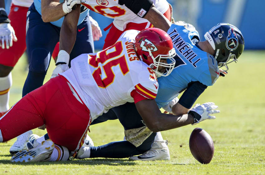NASHVILLE, TN - NOVEMBER 10: Chris Jones #95 of the Kansas City Chiefs sacks Ryan Tannehill #17 of the Tennessee Titans, causing a fumble in the first half at Nissan Stadium on November 10, 2019 in Nashville, Tennessee. (Photo by Wesley Hitt/Getty Images)