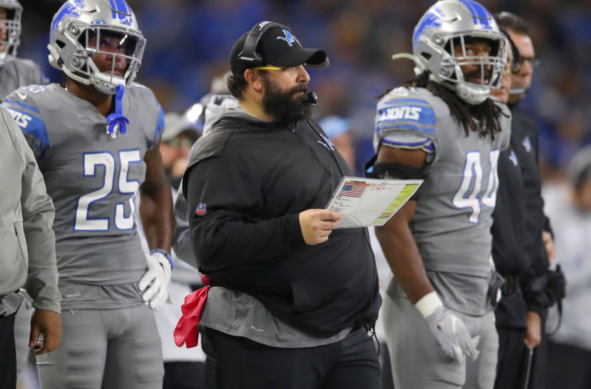 DETROIT, MICHIGAN - NOVEMBER 28: Head coach Matt Patricia of the Detroit Lions looks on while playing the Chicago Bears at Ford Field on November 28, 2019 in Detroit, Michigan. Chicago won the game 24-20. (Photo by Gregory Shamus/Getty Images)