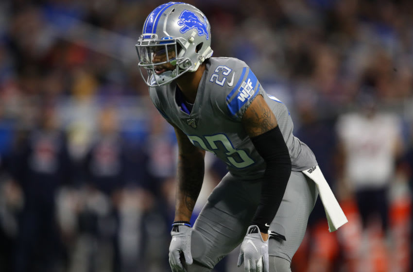 DETROIT, MICHIGAN - NOVEMBER 28: Darius Slay #23 of the Detroit Lions plays against the Chicago Bears at Ford Field on November 28, 2019 in Detroit, Michigan. (Photo by Gregory Shamus/Getty Images)