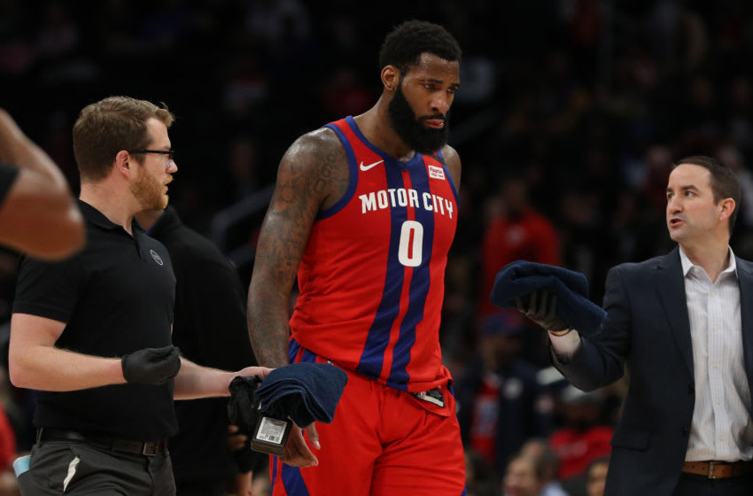 WASHINGTON, DC - JANUARY 20: Andre Drummond #0 of the Detroit Pistons walks off of the court after being injured against the Washington Wizards during the second half at Capital One Arena on January 20, 2020 in Washington, DC. NOTE TO USER: User expressly acknowledges and agrees that, by downloading and or using this photograph, User is consenting to the terms and conditions of the Getty Images License Agreement. (Photo by Patrick Smith/Getty Images)
