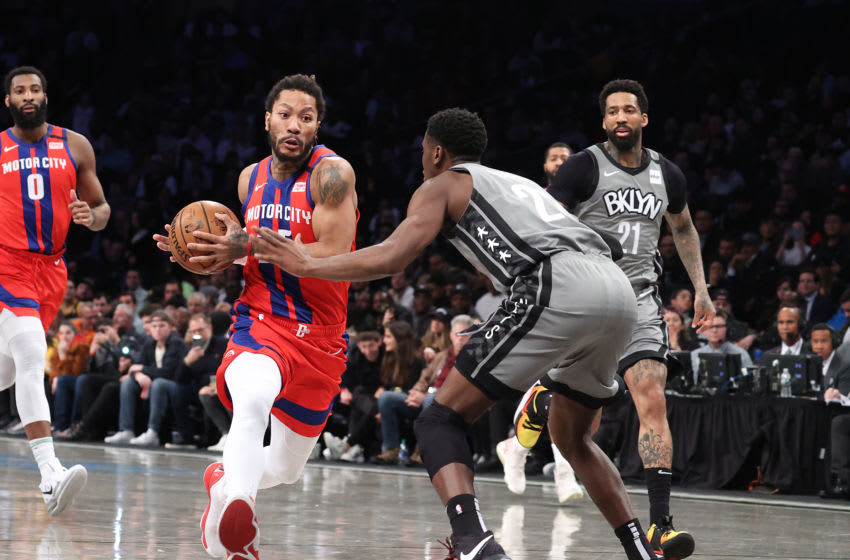 NEW YORK, NEW YORK - JANUARY 29: Derrick Rose #25 of the Detroit Pistons drives against Wilson Chandler #21 of the Brooklyn Nets during their game at Barclays Center on January 29, 2020 in New York City. NOTE TO USER: User expressly acknowledges and agrees that, by downloading and/or using this photograph, user is consenting to the terms and conditions of the Getty Images License Agreement. (Photo by Al Bello/Getty Images)