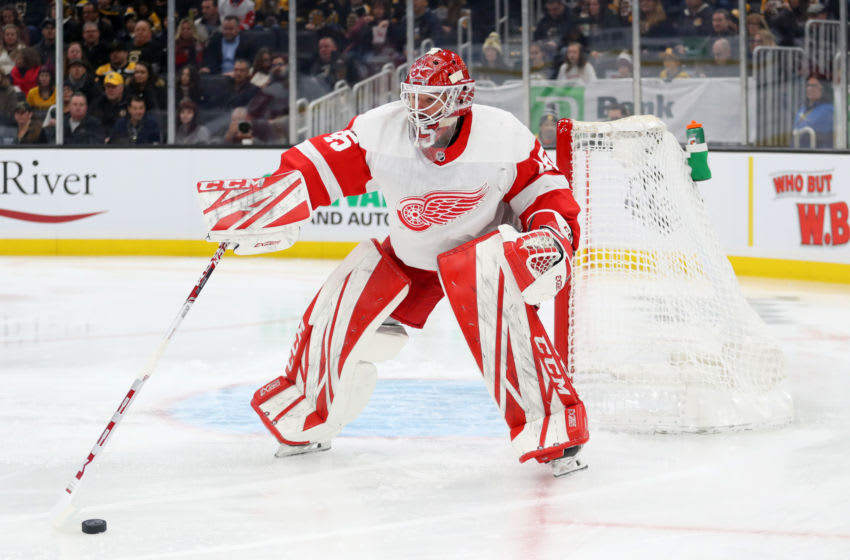 BOSTON, MASSACHUSETTS - FEBRUARY 15: Jonathan Bernier #45 of the Detroit Red Wings tends net during the first period of the game against the Boston Bruins at TD Garden on February 15, 2020 in Boston, Massachusetts. (Photo by Maddie Meyer/Getty Images)
