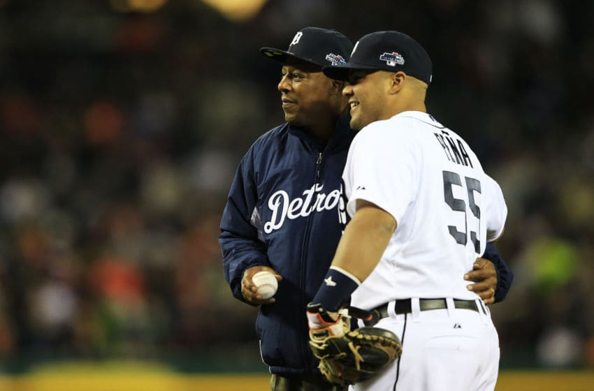 DETROIT, MI - OCTOBER 16: Brayan Pena #55 of the Detroit Tigers embraces former Tiger Lou Whitaker during pre-race ceremonies for Game Four of the American League Championship Series against the Boston Red Sox at Comerica Park on October 16, 2013 in Detroit, Michigan. (Photo by Jamie Squire/Getty Images)