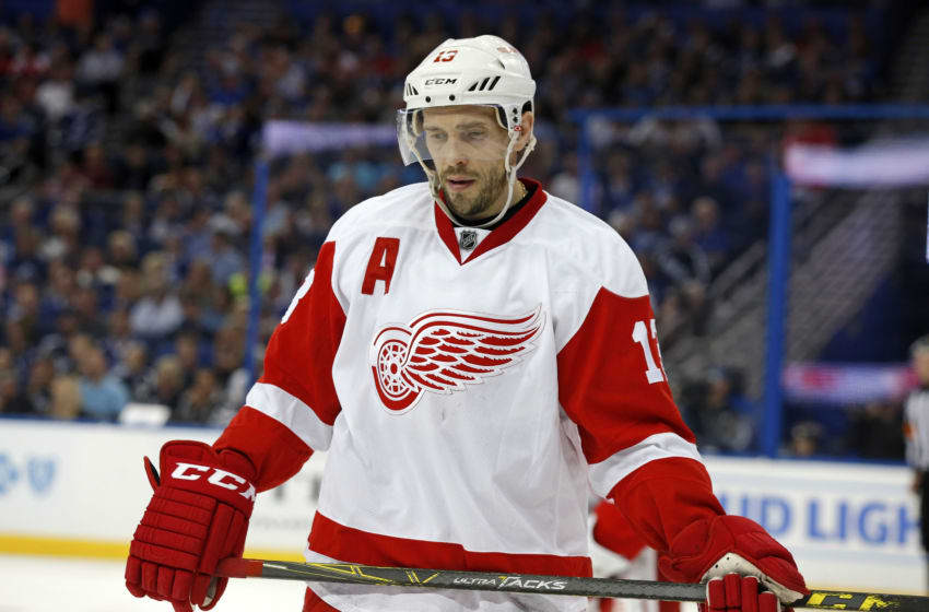 TAMPA, FL - APRIL 21: Pavel Datsyuk #13 of the Detroit Red Wings during a stop in play against the Tampa Bay Lightning during the second period in Game Five of the Eastern Conference First Round during the 2016 NHL Stanley Cup Playoffs at Amalie Arena on April 21, 2016 in Tampa, Florida. (Photo by Mike Carlson/Getty Images)