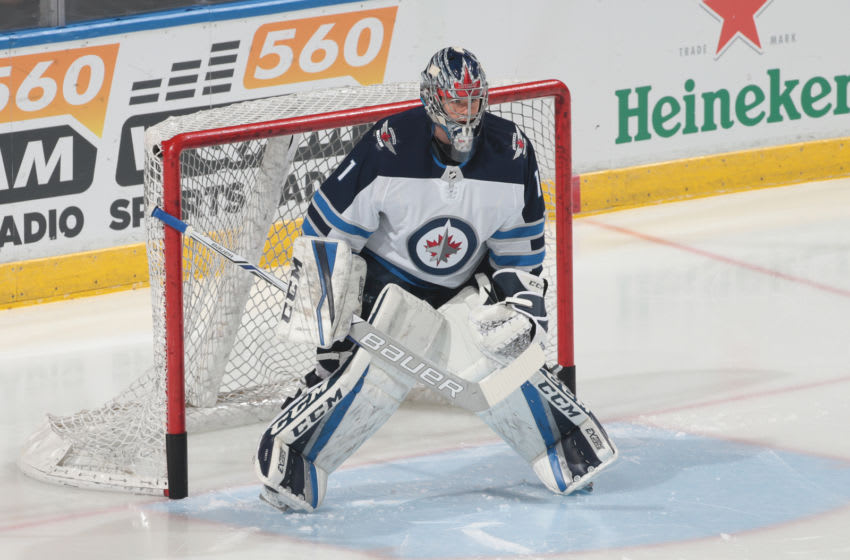 SUNRISE, FL - DECEMBER 7: Goaltender Eric Comrie #1 of the Winnipeg Jets warms up prior to the game against the Florida Panthers at the BB&T Center on December 7, 2017 in Sunrise, Florida. (Photo by Joel Auerbach/Getty Images)