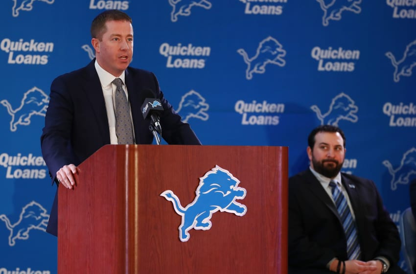 ALLEN PARK, MI - FEBRUARY 07: Bob Quinn General Manager of the Detroit Lions introduces Matt Patricia as the Lions new head coach at the Detroit Lions Practice Facility on February 7, 2018 in Allen Park, Michigan. (Photo by Gregory Shamus/Getty Images)