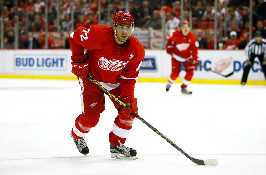Andreas Athanasiou of the Detroit Red Wings skates while playing the Winnipeg Jets at Joe Louis Arena on November 4, 2016 in Detroit, Michigan. Winnipeg won the game 5-3. (Photo by Gregory Shamus/Getty Images)