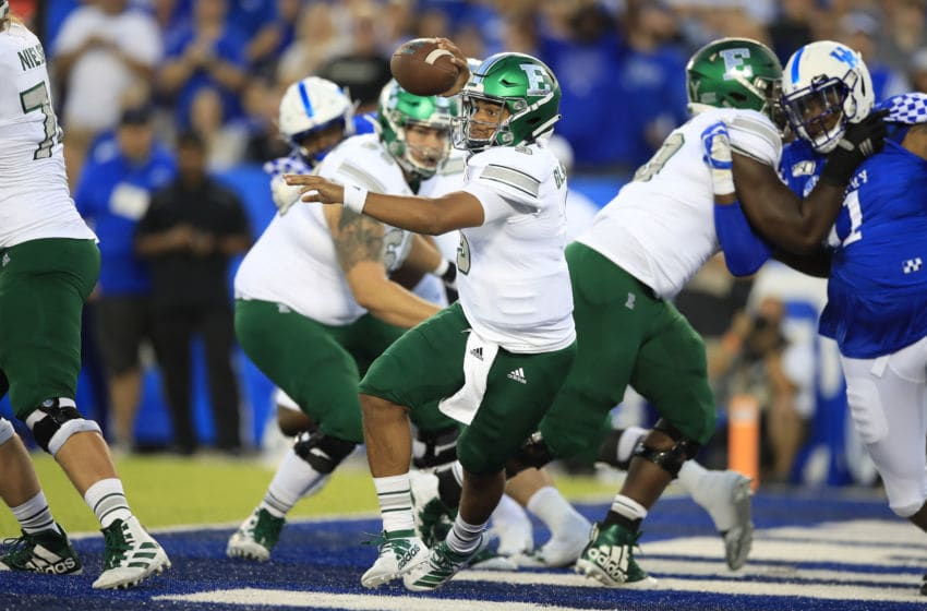 LEXINGTON, KENTUCKY - SEPTEMBER 07: Mike Glass III #9 of the Eastern Michigan Eagles looks to pass the ball against the Kentucky Wildcats at Commonwealth Stadium on September 07, 2019 in Lexington, Kentucky. (Photo by Andy Lyons/Getty Images)