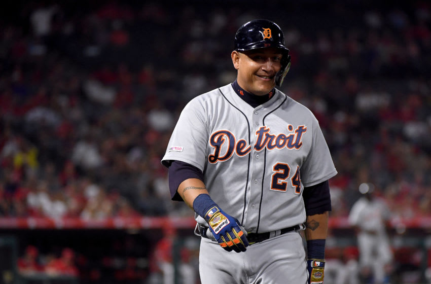 ANAHEIM, CALIFORNIA - JULY 29: Miguel Cabrera #24 of the Detroit Tigers reacts to his two run sinlge, to take a 5-2 lead over the Los Angeles Angels, during the eighth inning at Angel Stadium of Anaheim on July 29, 2019 in Anaheim, California. (Photo by Harry How/Getty Images)