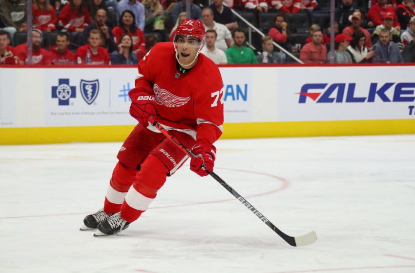 DETROIT, MICHIGAN - OCTOBER 08: Andreas Athanasiou #72 of the Detroit Red Wings skates against the Anaheim Ducks at Little Caesars Arena on October 08, 2019 in Detroit, Michigan. (Photo by Gregory Shamus/Getty Images)