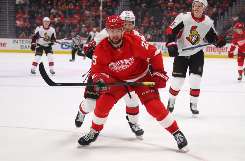 DETROIT, MICHIGAN - JANUARY 10: Mike Green #25 of the Detroit Red Wings skates against the Ottawa Senators at Little Caesars Arena on January 10, 2020 in Detroit, Michigan. (Photo by Gregory Shamus/Getty Images)