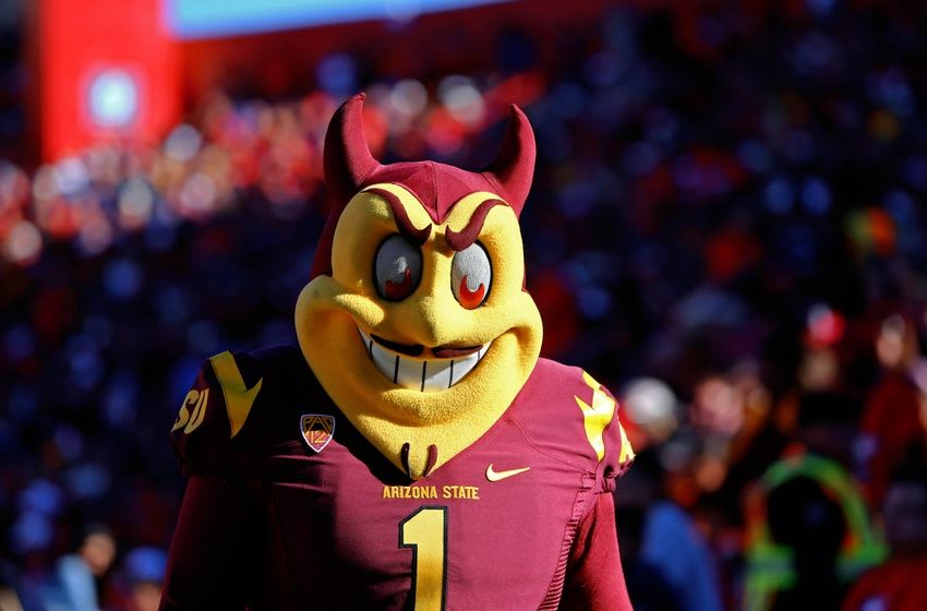 Nov 28, 2014; Tucson, AZ, USA; Arizona State Sun Devils mascot Sparky against the Arizona Wildcats during the 88th annual territorial cup at Arizona Stadium. Mandatory Credit: Mark J. Rebilas-USA TODAY Sports