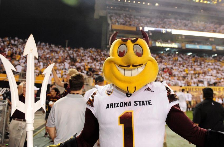 Sep 18, 2015; Tempe, AZ, USA; Arizona State Sun Devils mascot Sparky looks on during the first half against the New Mexico Lobos at Sun Devil Stadium. Mandatory Credit: Matt Kartozian-USA TODAY Sports