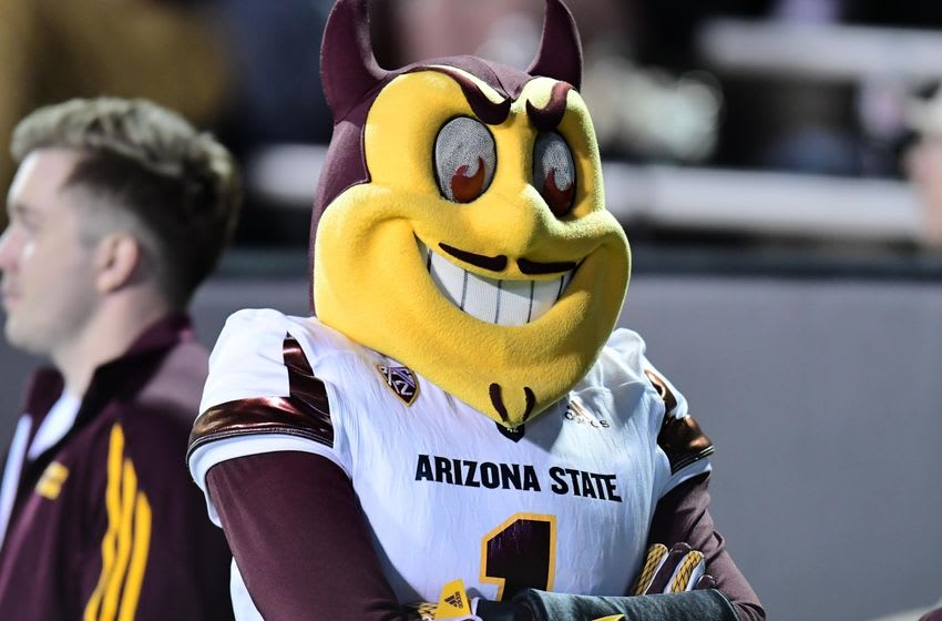 Oct 15, 2016; Boulder, CO, USA; Arizona State Sun Devils mascot Sparky during the fourth quarter against the Colorado Buffaloes at Folsom Field. The Buffaloes defeated theSun Devils 40-16. Mandatory Credit: Ron Chenoy-USA TODAY Sports