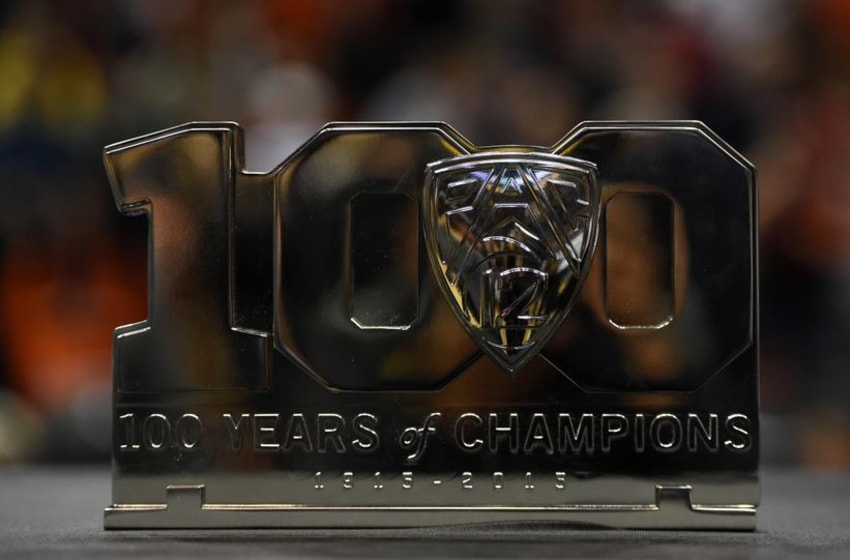 Mar 6, 2016; Seattle , WA, USA; General view of Pac-12 100th anniversary logo trophy at KeyArena. Oregon State defeated UCLA 69-57. Mandatory Credit: Kirby Lee-USA TODAY Sports