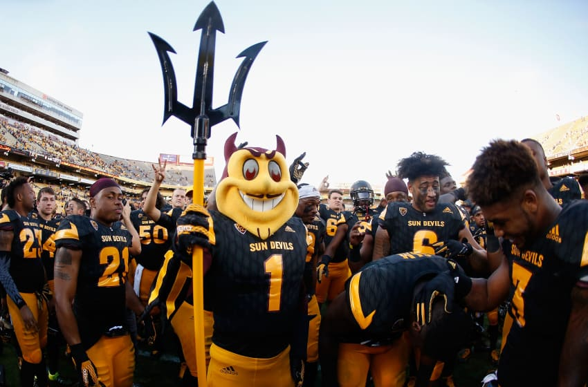 TEMPE, AZ - NOVEMBER 14: Arizona State Sun Devils mascot, 'Sparky' following the college football game against the Washington Huskies at Sun Devil Stadium on November 14, 2015 in Tempe, Arizona. The Sun Devils defeated the Huskies 27-17. (Photo by Christian Petersen/Getty Images)